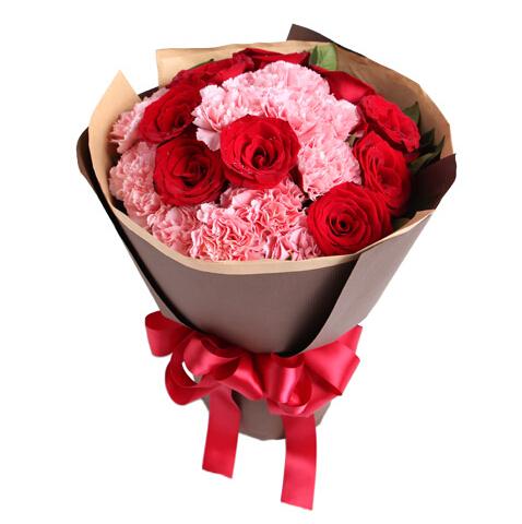 你的笑靥----13枝粉康乃馨,9枝红玫瑰