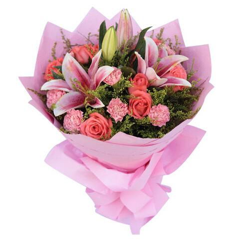 因为爱----9枝粉玫瑰,9枝粉康乃馨,粉香水百合2枝