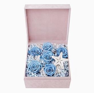 海之恋----永生花盒:厄瓜多尔进口蓝色永生玫瑰