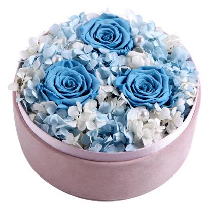 漫步爱琴海----永生花盒:厄瓜多尔进口蓝色永生玫瑰3枝