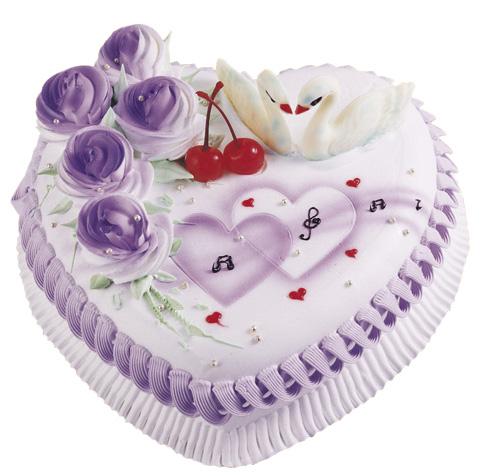 两两相依----2磅(8寸)心形鲜奶水果蛋糕