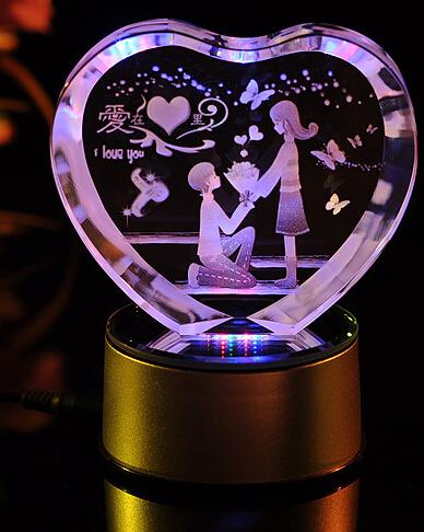 心形3D水晶内雕爱在心里----激光内雕水晶工艺品,USB七彩旋转发光