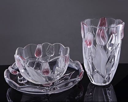 郁金香花瓶水果盘套装----德国伟特水晶玻璃礼品3件套,乔迁、家居、婚庆送礼首选