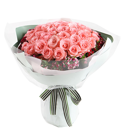 情有独钟----戴安娜粉玫瑰50枝