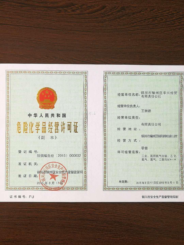 铜川市耀州区华兴经贸有限责任公司营许可证