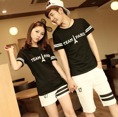 45件包邮韩版学院风情侣T恤尺码:S-XXL_222_57