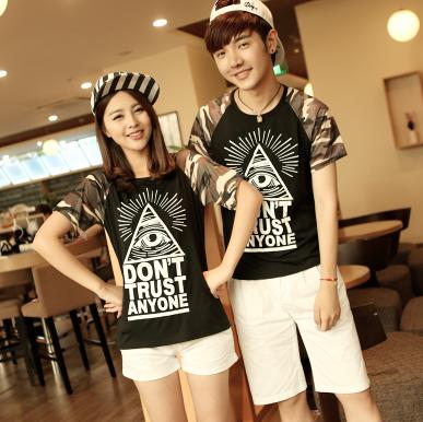 45件包邮韩版学院风情侣T恤尺码:S-XXL_199_34
