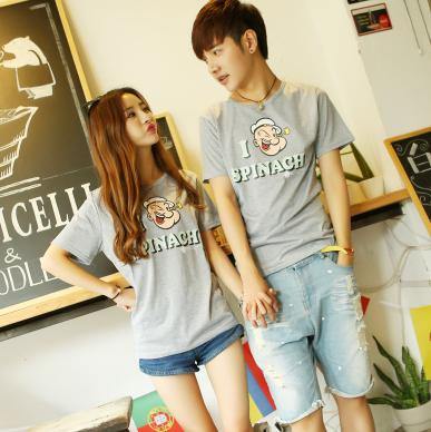 45件包邮韩版学院风情侣T恤尺码:S-XXL_198_33