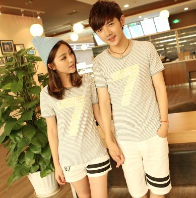 45件包邮韩版学院风情侣T恤尺码:S-XXL_184_19