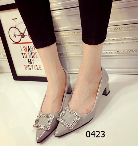 女鞋  68包邮镶钻中跟职场高跟鞋黑色灰色红色
