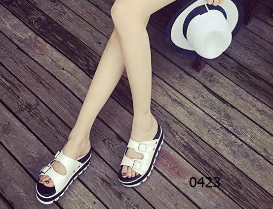 女鞋  69包邮松糕底平底鞋拖绿色白色黑色银色尺码